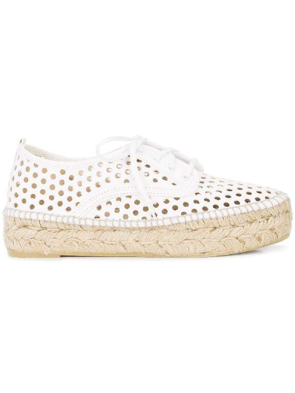 Loeffler Randall Alfie Perforated Vachetta Leather Espadrille Sneakers In White
