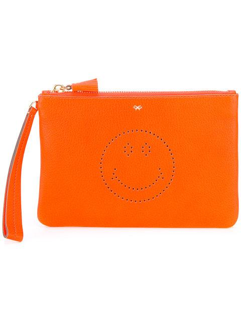 Anya Hindmarch Neon Orange Clutch With Smile