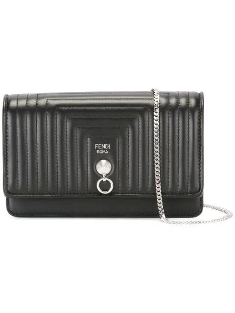 Fendi Leather MatelassÉ Chain Wallet In Black