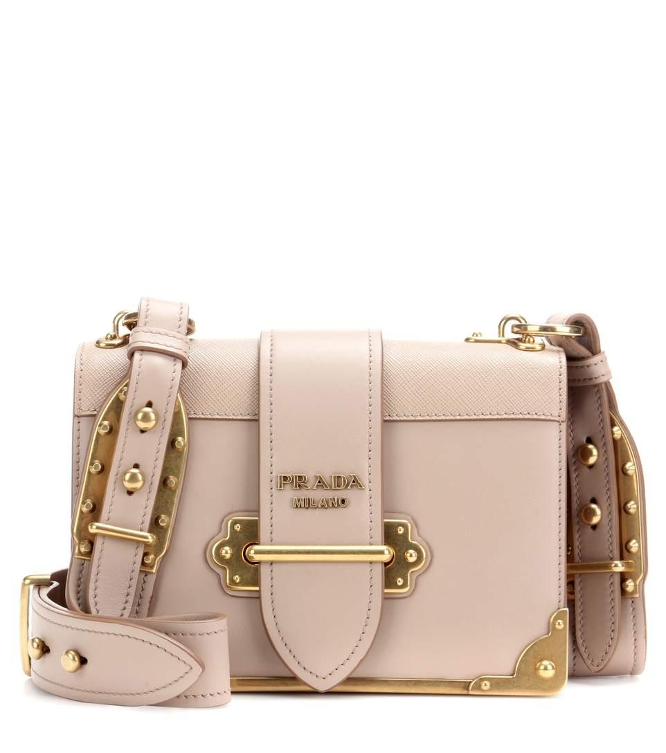 3ab0803dd9fc Prada Cahier Leather Shoulder Bag In Cammeo   ModeSens