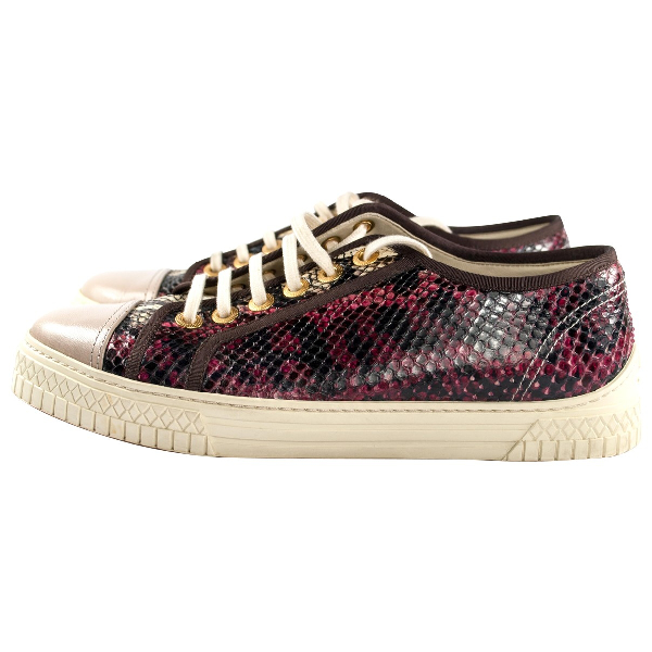 Chanel Burgundy Python Trainers