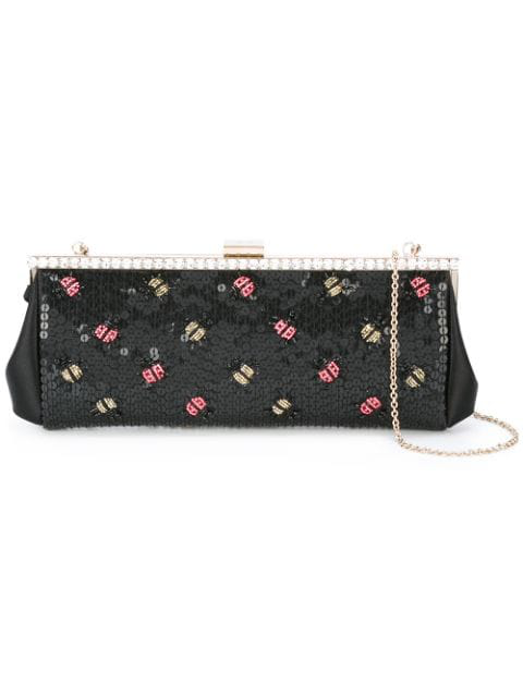 Red Valentino Lady Bugs Embellished Clutch - Black