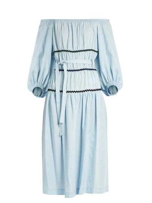 Sonia Rykiel Ric-rac Trimmed Off-the-shoulder Dress In Blue