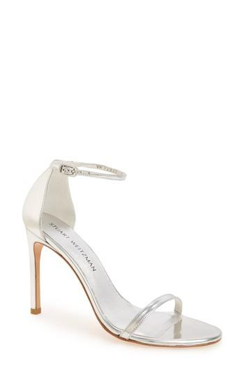 Stuart Weitzman Nudistsong Ankle Strap Sandal In Tin Glass