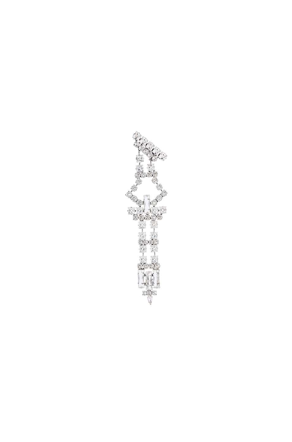 Saint Laurent Smoking Oversized Earring In Silver And Clear In Metallics