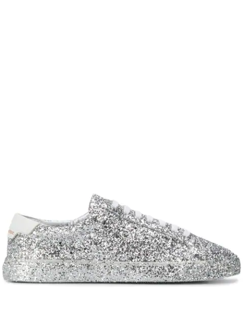 Saint Laurent Andy Sneakers In Crystal Glitter And Leather In 8194 Argent Blanc Optique