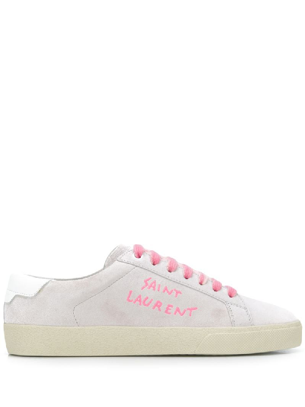 Saint Laurent White Unisex Sl/06 Low-top Sneakers White And Pink In 9030 Pink