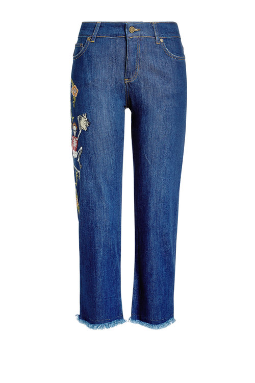 Zadig & Voltaire Cropped Embroidered Jeans With Frayed Hem In Blue