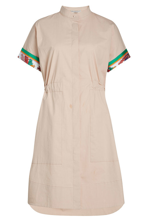 Emilio Pucci Cotton Dress With Printed Detail In Camel
