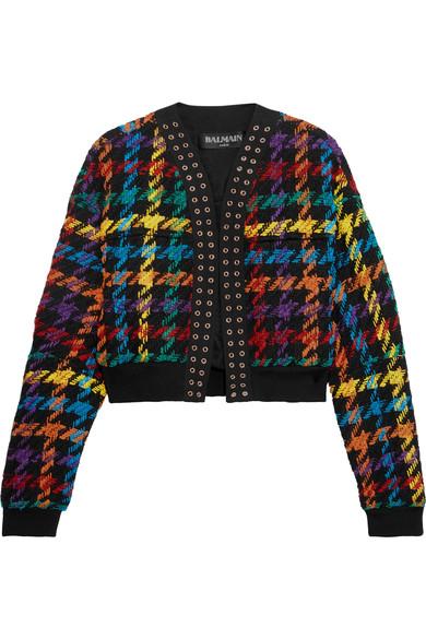 Balmain Woman Houndstooth Cotton-blend Bomber Jacket Black