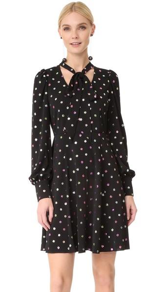 Marc Jacobs Glittered Polka-dot Chiffon Mini Dress In 主色黑色