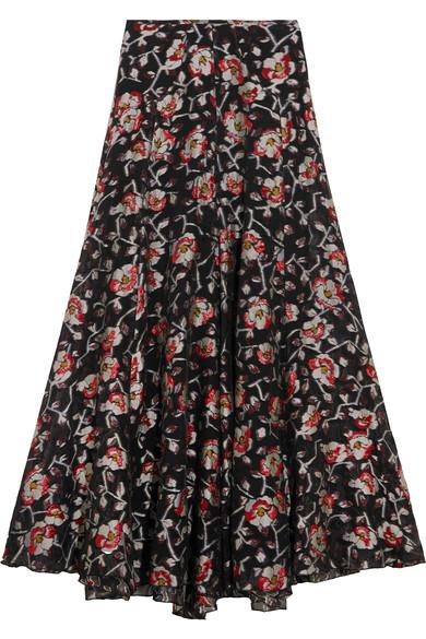 4ac41eae6544d1 Isabel Marant Woman Peace Metallic Floral-Jacquard Maxi Skirt Black ...