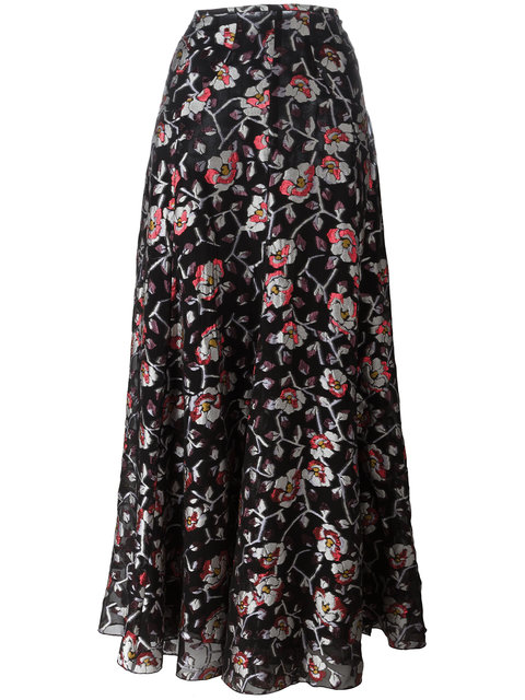 Isabel Marant Woman Peace Metallic Floral-jacquard Maxi Skirt Black