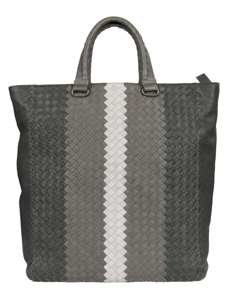 Bottega Veneta Braided Shopper Bag In Ardoise-new Light Grey-oyster-