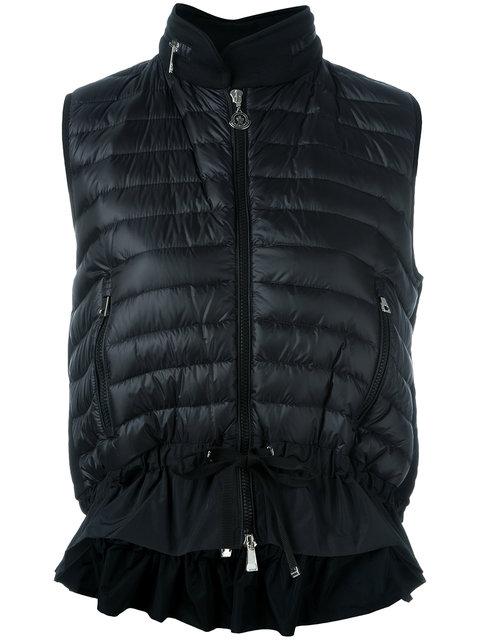 Moncler Hooded Padded Front Gilet In Black