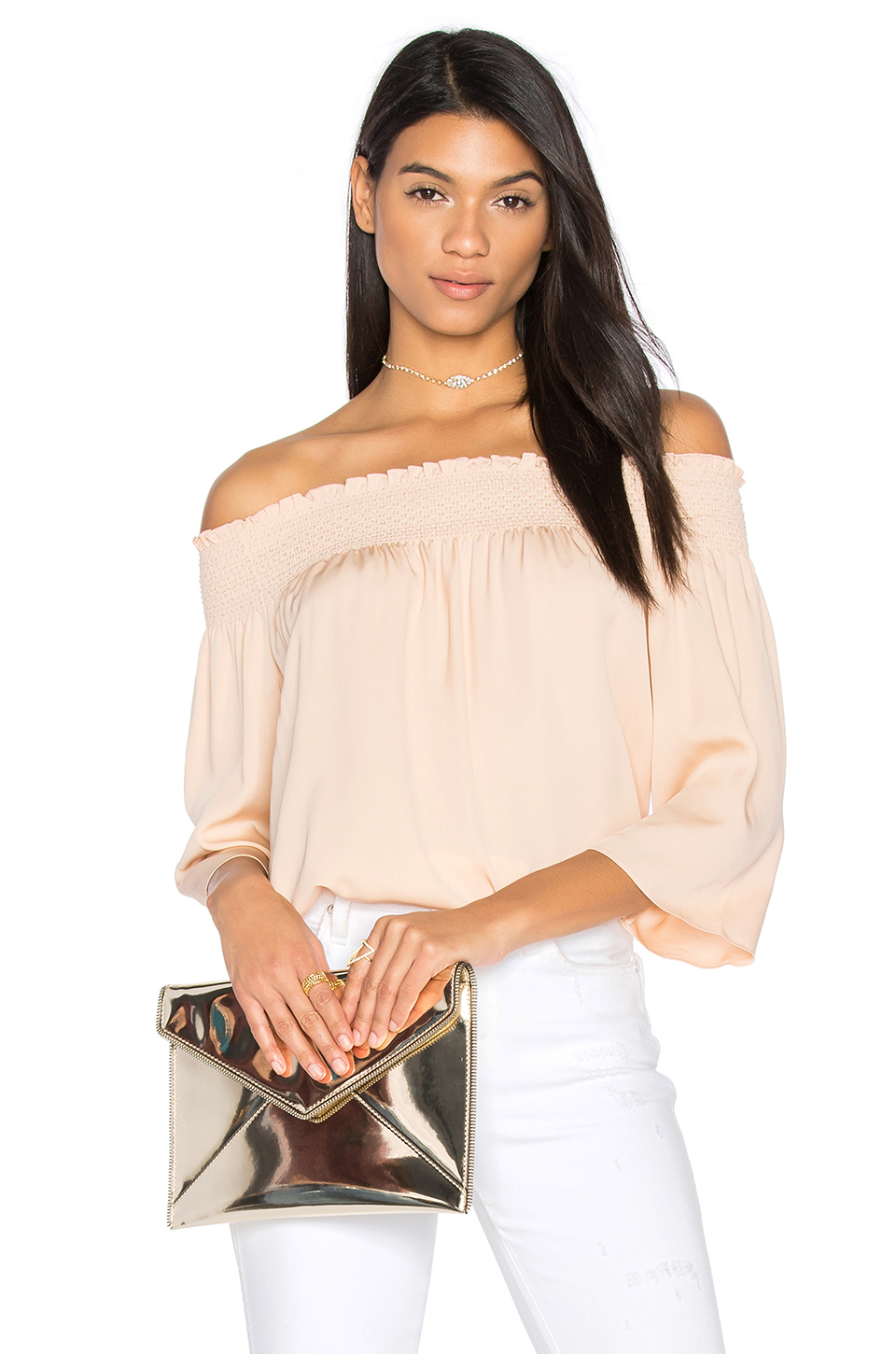 Theory Elistaire Off-the-shoulder Modern Georgette Top In Rose