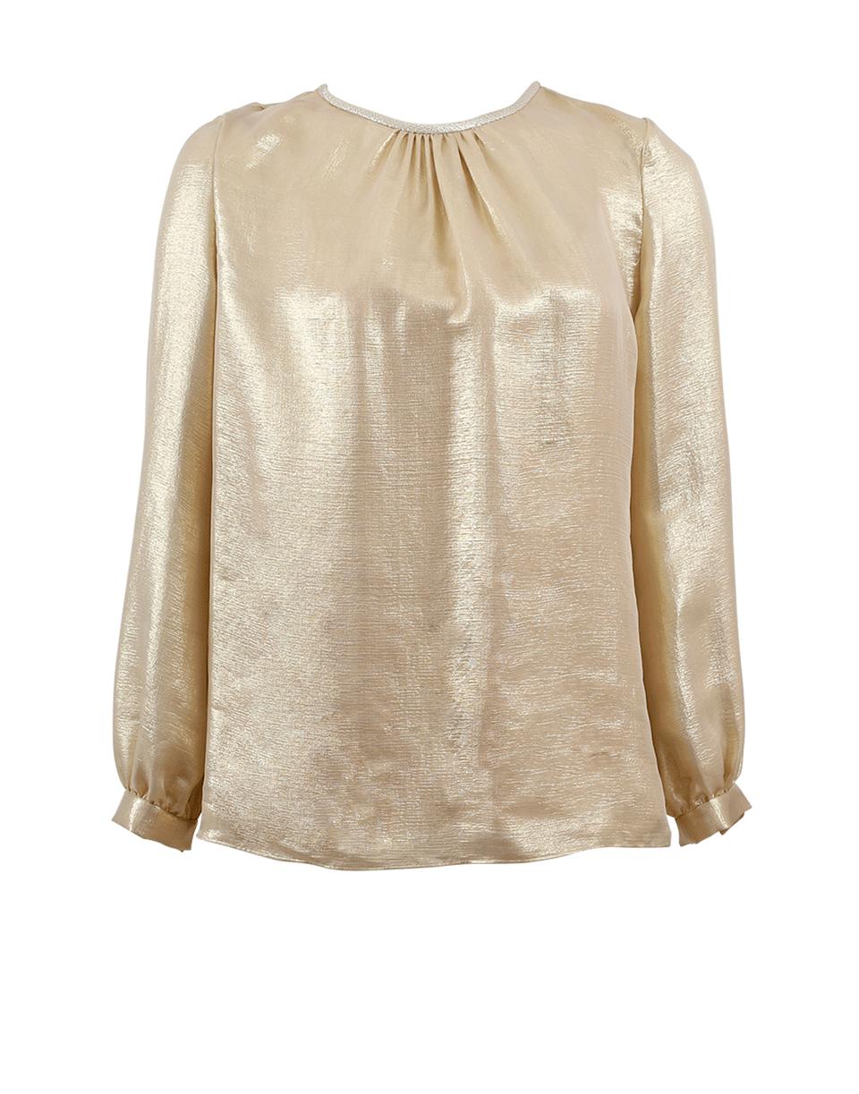 Oscar De La Renta Silk-blend LamÉ Blouse In Pale-gld
