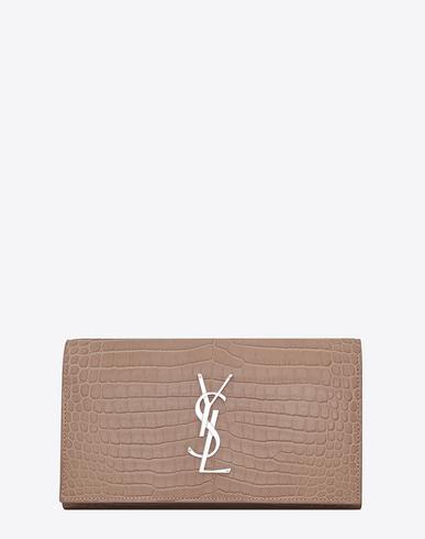Saint Laurent Large Monogram Flap Wallet In Antique Rose Crocodile Embossed Shiny Leather