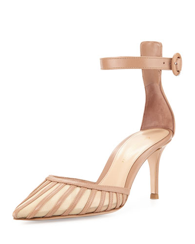 Gianvito Rossi Striped Mesh & Leather D'orsay Pump In Neutral