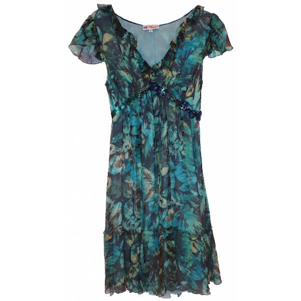 Blumarine Green Silk Dress