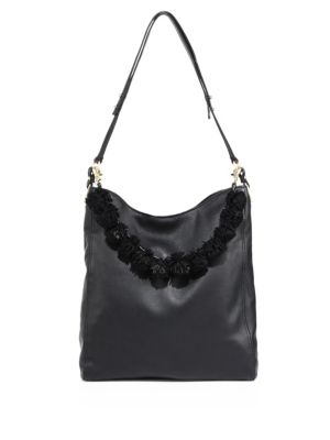 Loeffler Randall Pom Pom Leather Hobo Bag In Black