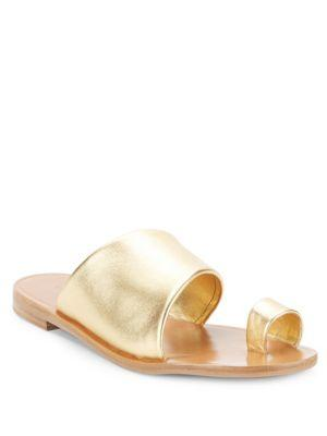 Diane Von Furstenberg Ello Metallic Leather Toe Ring Sandals In Gold