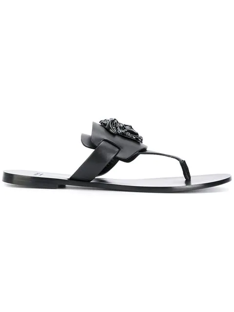 Versace Palazzo Flat Thong Sandals In Black