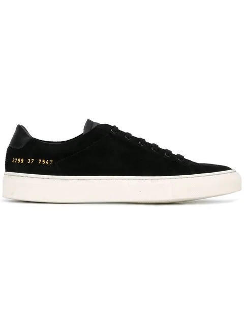 Common Projects Achilles Retro Leather-trimmed Suede Sneakers In Black