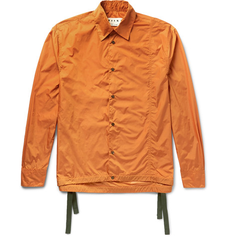 Marni Waterproof Nylon Shirt Style Jacket In Orange