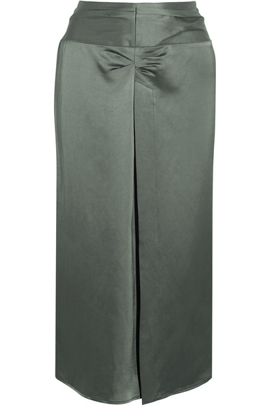 Isabel Marant Woman Rise Ruched Satin Skirt Army Green