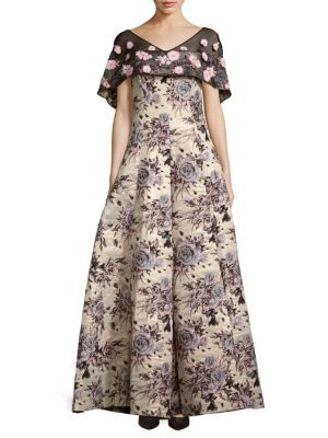 Badgley Mischka Floral Brocade Cape Gown In Gold Multicolor