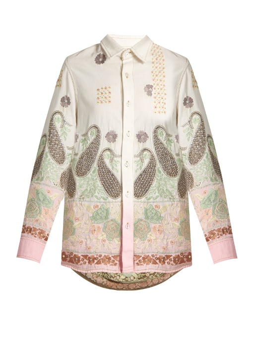 Ashish Paisley-embroidered Cotton Shirt In Pink Multi