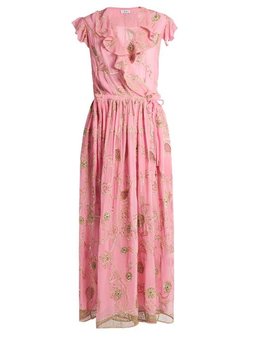 67c3f51d Ashish Embroidered Embellished Silk-Georgette Wrap Dress In Bubblegum-Pink