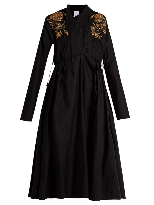 Ashish Embroidered Cotton Dress In Black