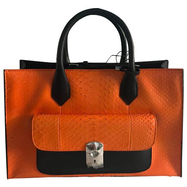 Balenciaga Padlock Orange Leather Handbag