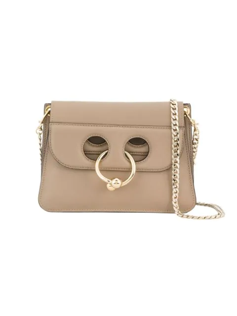 Jw Anderson Mini Pierced Crossbody Chain Bag In Taupe In Ash