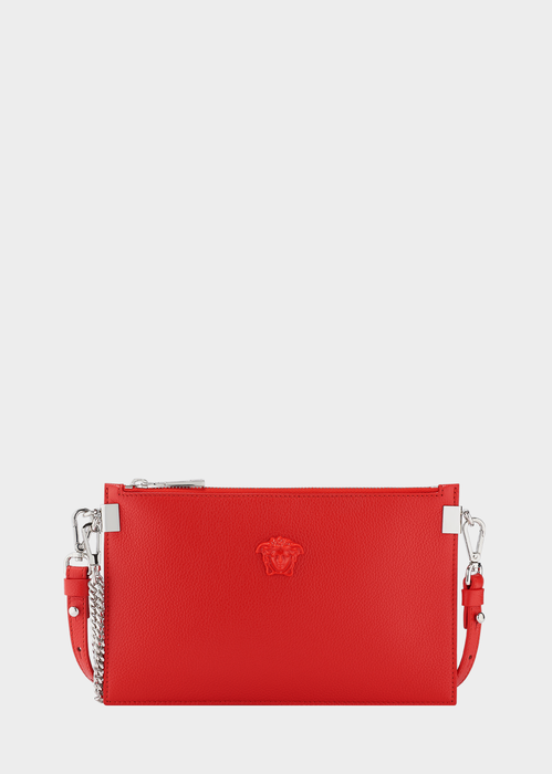 Versace Palazzo Leather Pouch Bag In Red