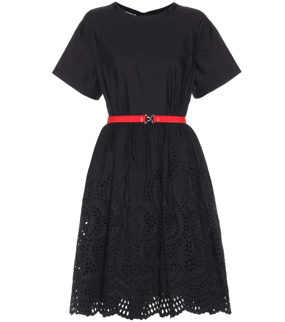 Miu Miu Belted Poplin Dress In Nero