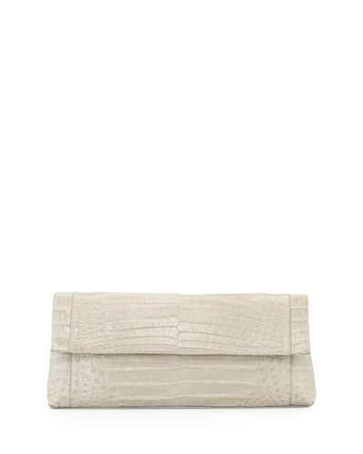 Nancy Gonzalez Gotham Crocodile Clutch Bag, Gray, Turquoise In Grey