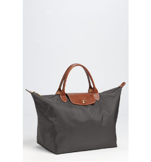 Longchamp 'medium Le Pliage' Top Handle Tote - Grey In Gunmetal