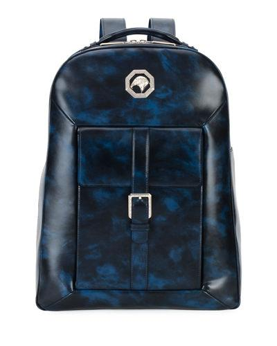 Stefano Ricci Marbled-leather Backpack In Blue