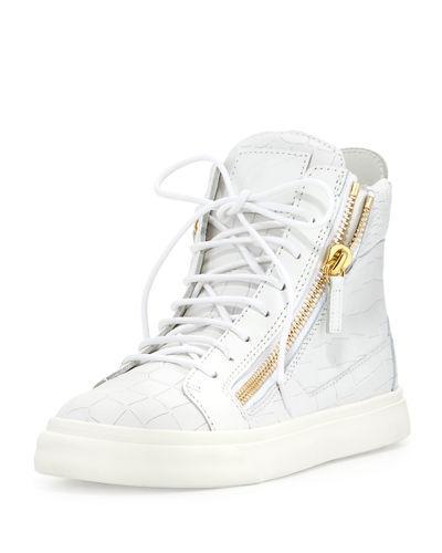 Giuseppe Zanotti Crocodile-embossed High-top Sneakers, Bianco
