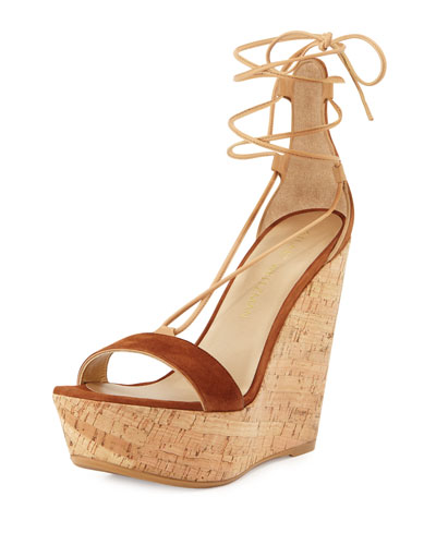 Stuart Weitzman Wrap It Suede Lace-up Wedge Sandal, Sapphire In Saddle