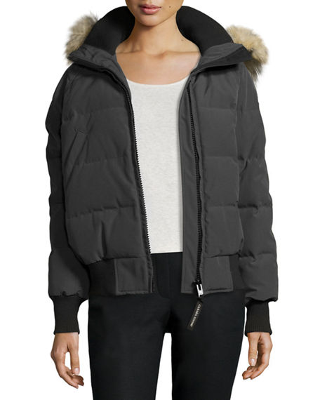 Canada Goose Savona Hooded Quilted Bomber Jacket, Damagedgraphite In Graphite