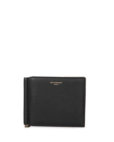 Givenchy Leather Wallet W/money Clip In Black