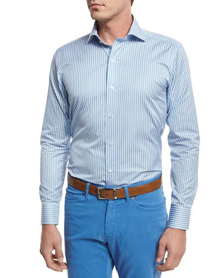 Peter Millar Lagoon Stripe Sport Shirt, Lotus Blossom In Light Blue