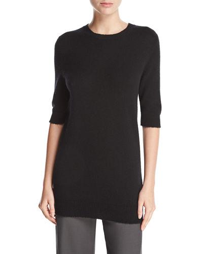 Vince Long Cashmere Half-sleeve Sweater, Black