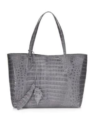 Nancy Gonzalez Erica New Crocodile Leaf Tote Bag In Grey