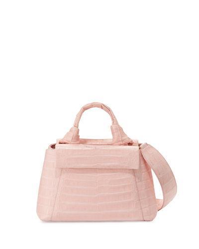 Nancy Gonzalez Crocodile Knot-handle Mini Tote Bag In Baby Pink