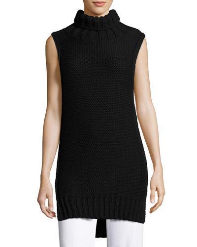 Calvin Klein Collection Dominic Turtleneck Sleeveless Sweater In Black